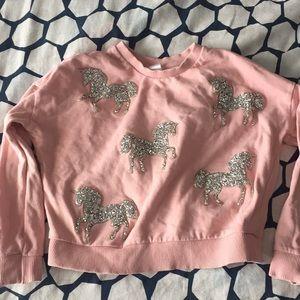 Justice boxy sweatshirt with sparkly unicorns